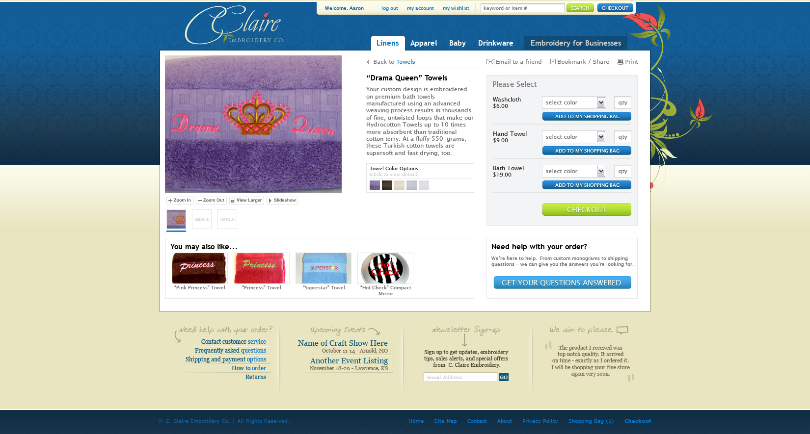 Product detail page layout