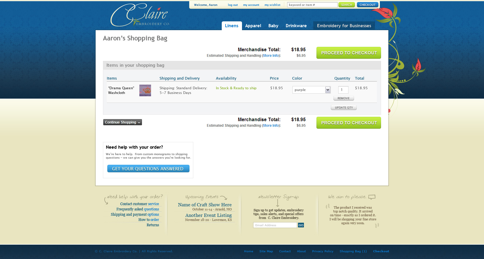 Shopping cart page layout