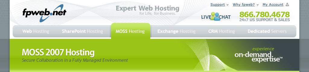 MOSS Hosting Header